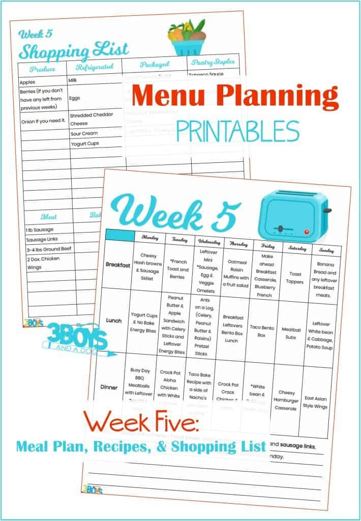 Week Five Menu Plan Recipes and Shopping List
