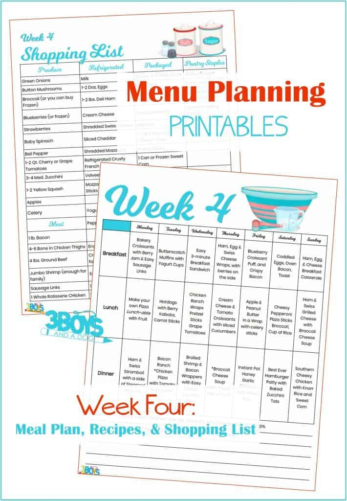 Week Four Menu Plan Recipes and Shopping List