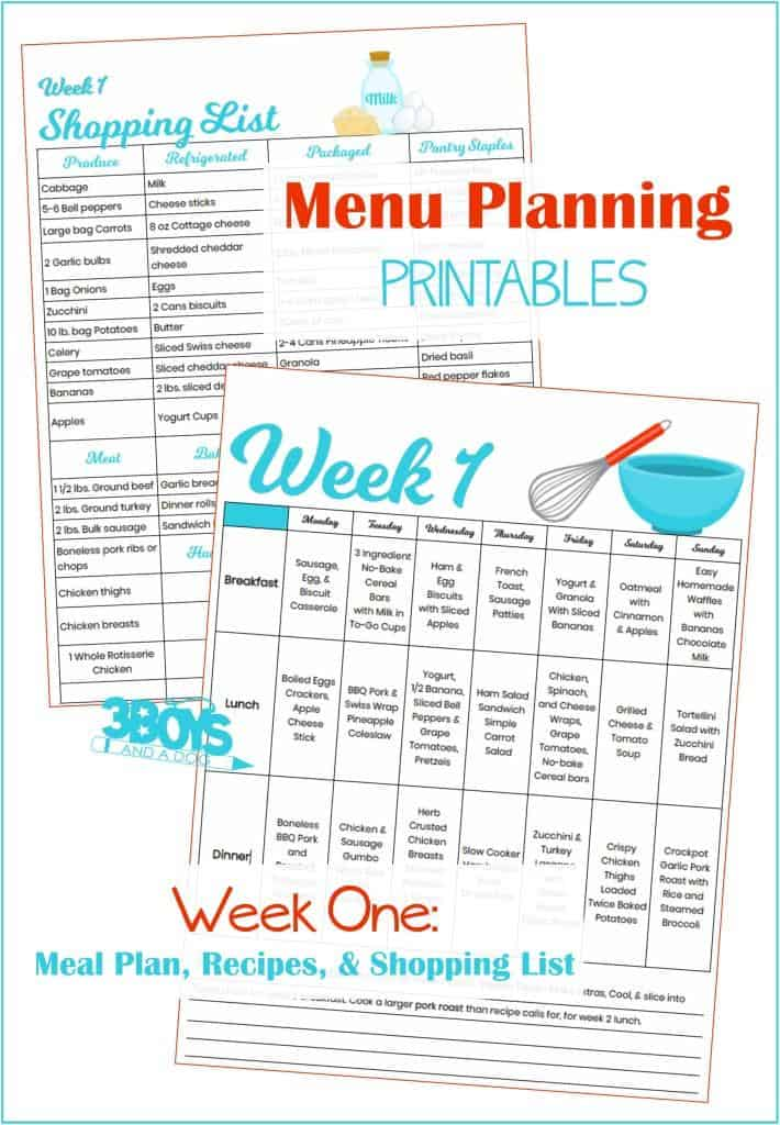 Week One Menu Plan Recipes and Shopping List