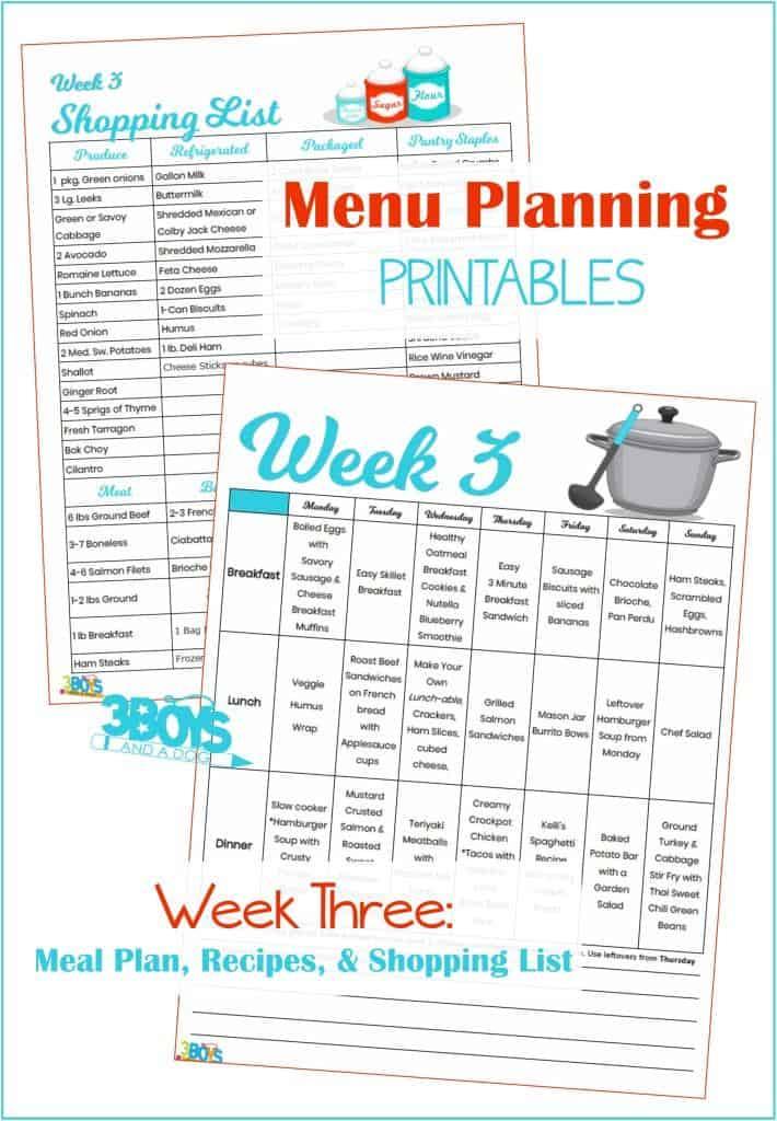 Week Three Menu Plan Recipes and Shopping List