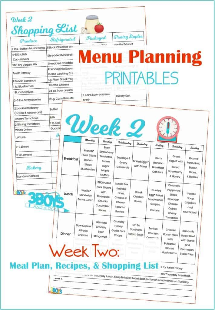 Week Two Menu Plan Recipes and Shopping List