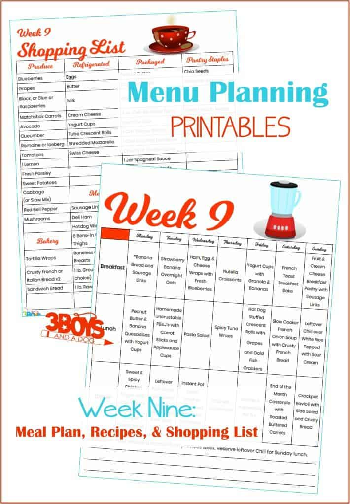 Week Nine Menu Plan Recipes and Shopping List