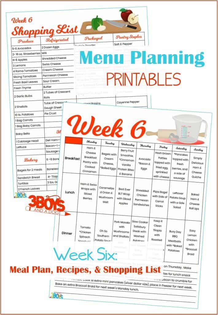 Week Six Menu Plan Recipes and Shopping List
