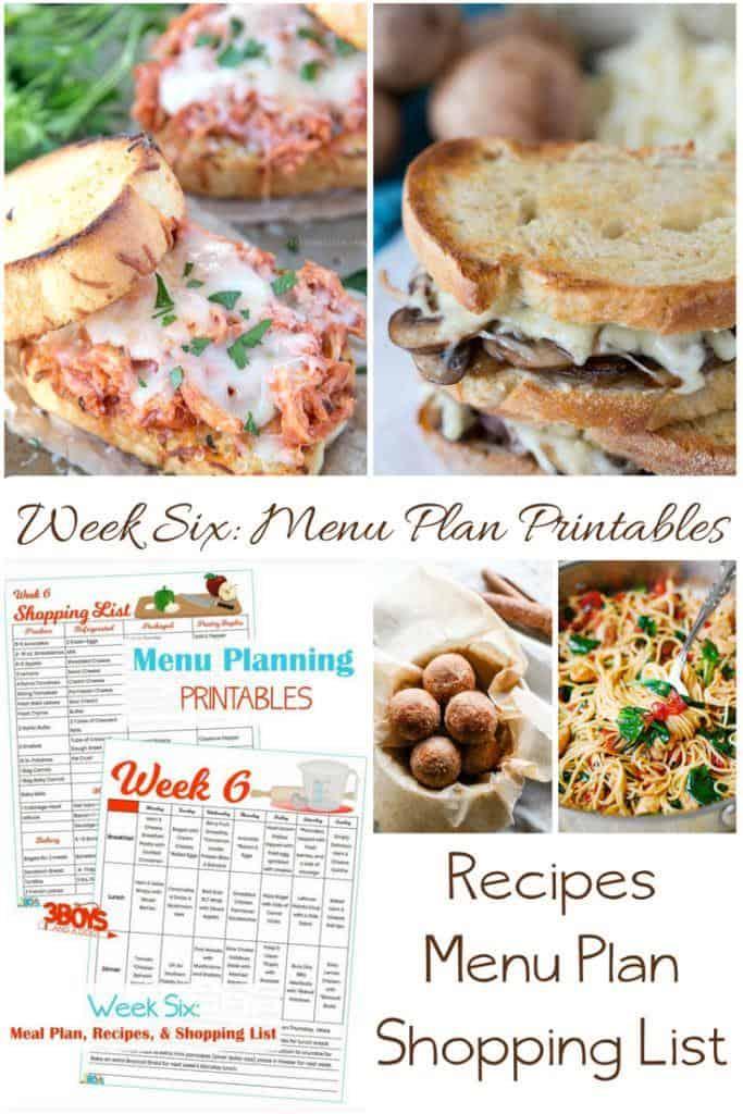Week Six Menu Planning Printables