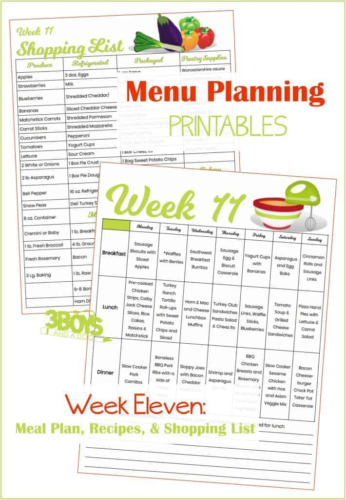 Week Eleven Menu Plan Recipes and Shopping List