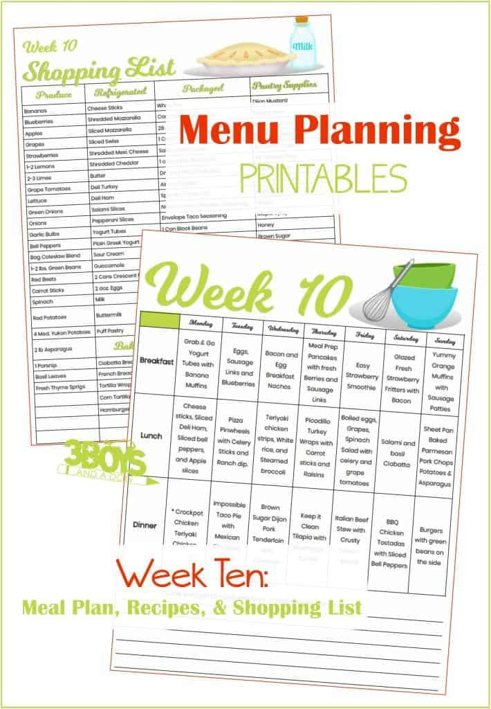 Week Ten Menu Plan Recipes and Shopping List