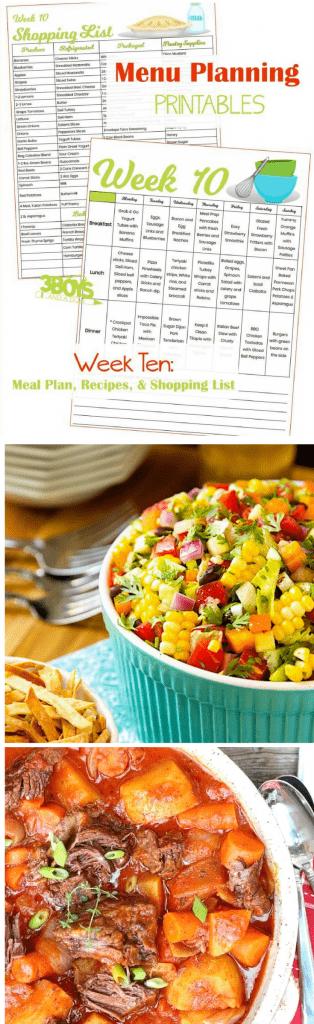 Week Ten Menu Planning Resources