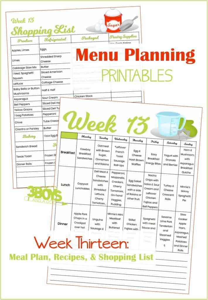 Week Thirteen Menu Plan Recipes and Shopping List