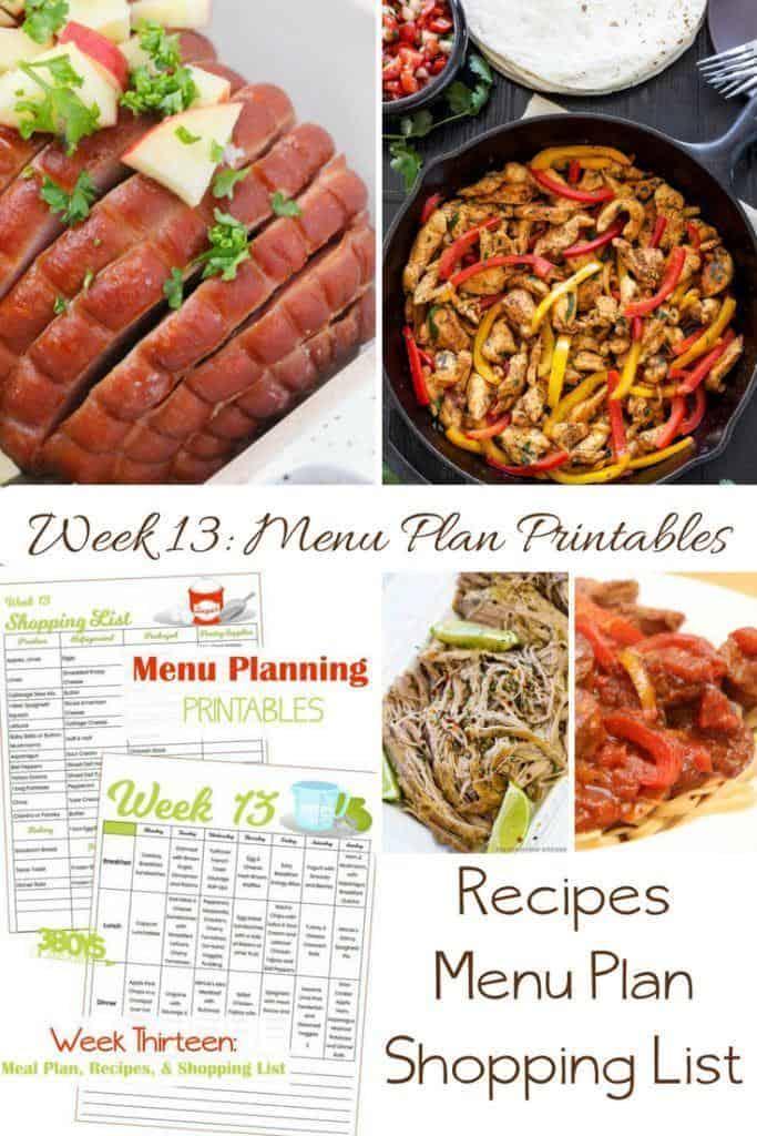 Week Thirteen_ Menu Plan Printables