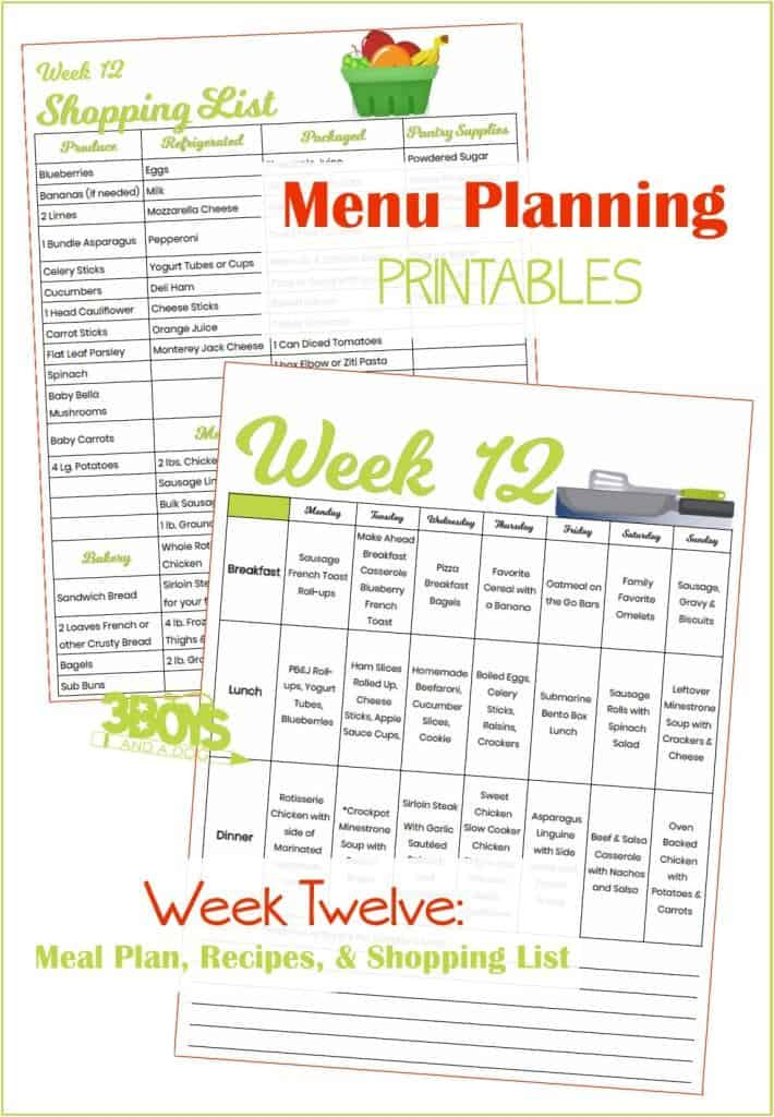 Week Twelve Menu Plan Recipes and Shopping List