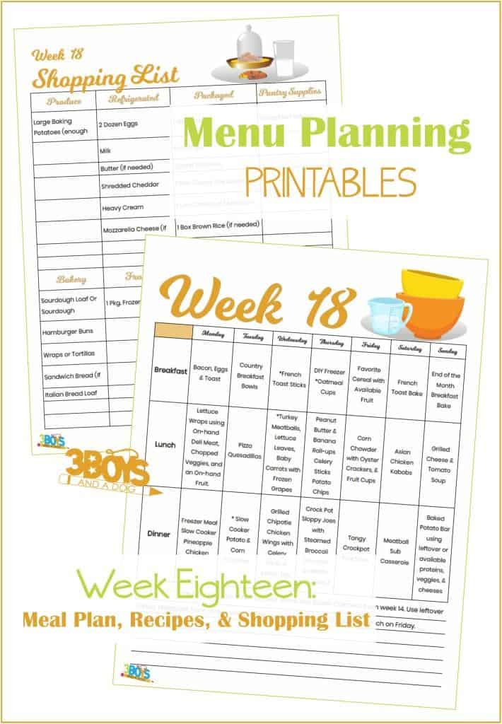 Week Eighteen Menu Plan Recipes and Shopping List
