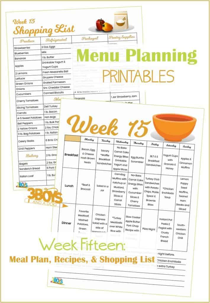 Week Fifteen Menu Plan Recipes and Shopping List