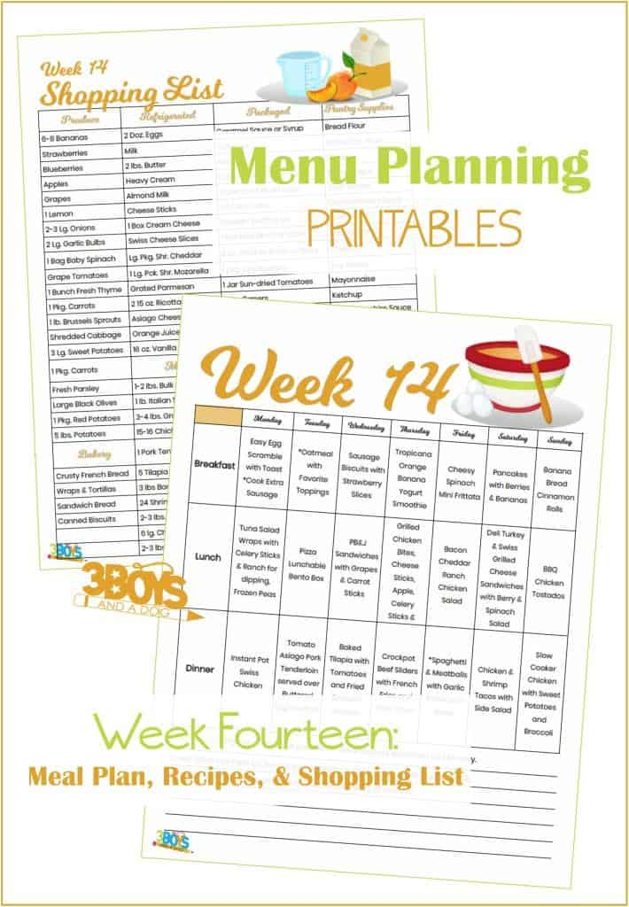Week Fourteen Menu Plan Recipes and Shopping List