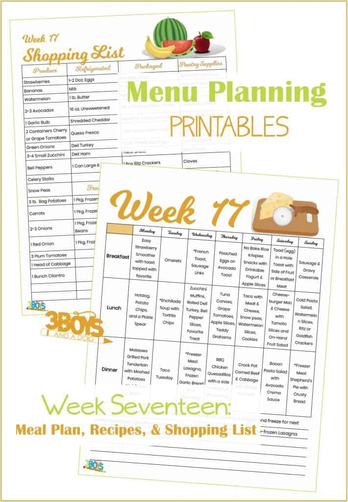 Week Seventeen Menu Plan Recipes and Shopping List