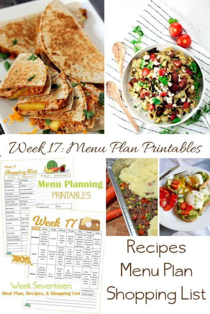 menu plans 17 . includes printable shopping list and meal plan