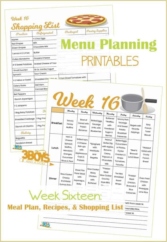 Week Sixteen Menu Plan Recipes and Shopping List