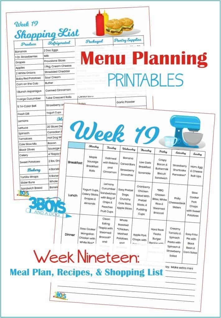 Week Nineteen Menu Plan Recipes and Shopping List
