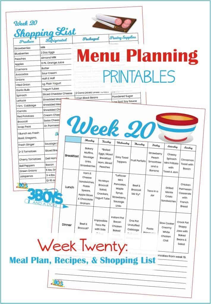 Week Twenty Menu Plan Recipes and Shopping List