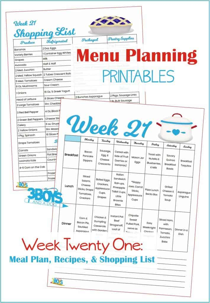Week Twenty One Menu Plan Recipes and Shopping List