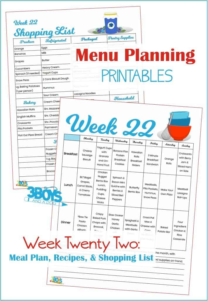 Week Twenty Two Menu Plan Recipes and Shopping List