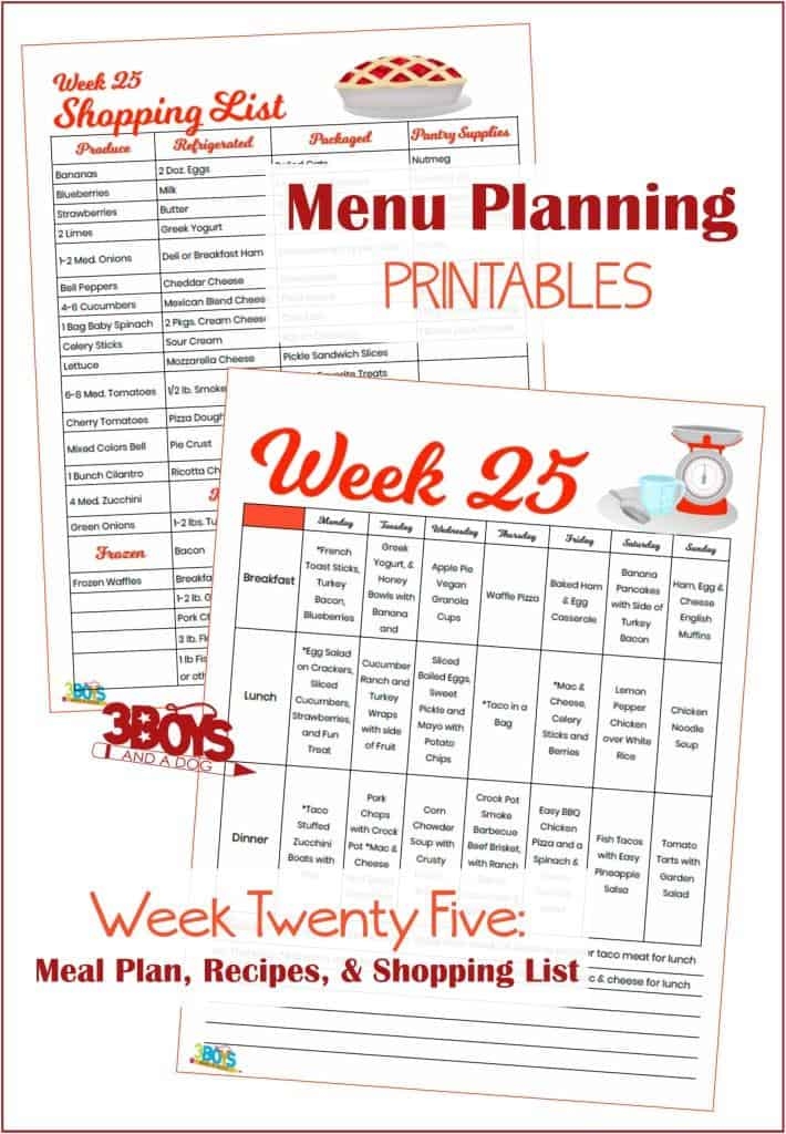 Week Twenty Five Menu Plan Recipes and Shopping List