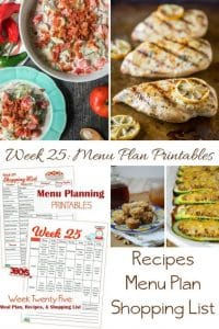Week Twenty Five_ Menu Plan Printables