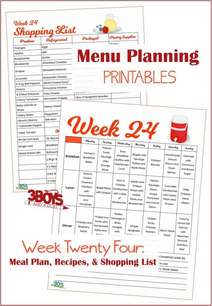 Week Twenty Four Menu Plan Recipes and Shopping List