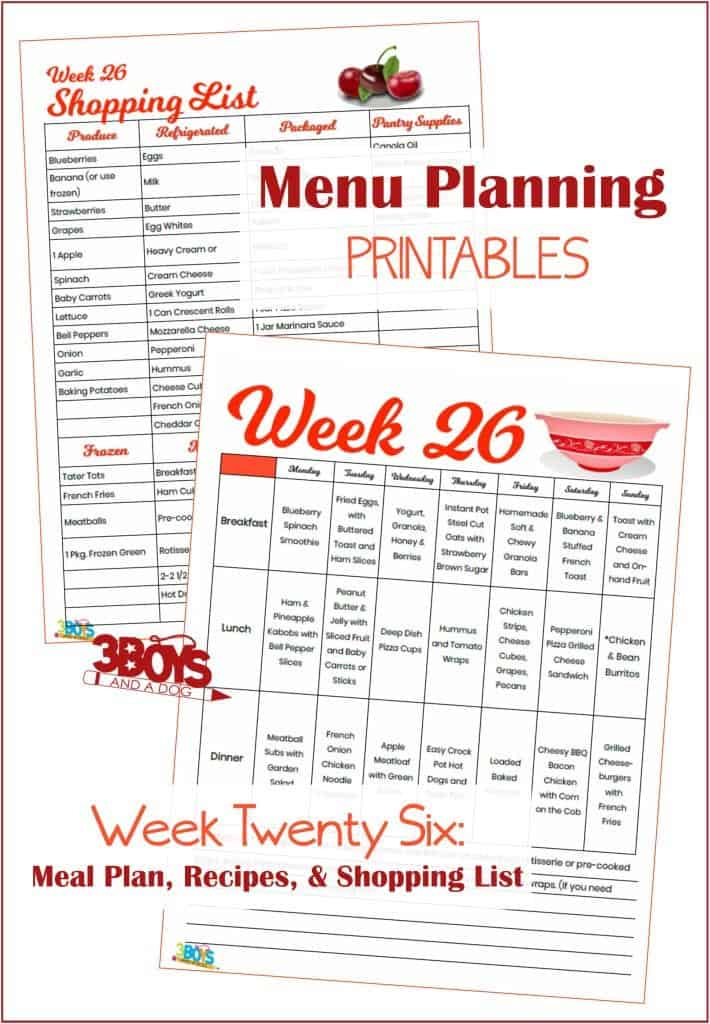 Week Twenty Six Menu Plan Recipes and Shopping List