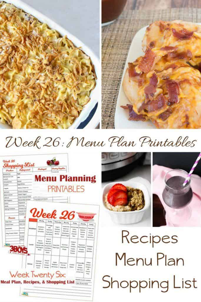 menu plans 26 . kid friendly dishes