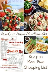 Week Twenty Three_ Menu Plan Printables