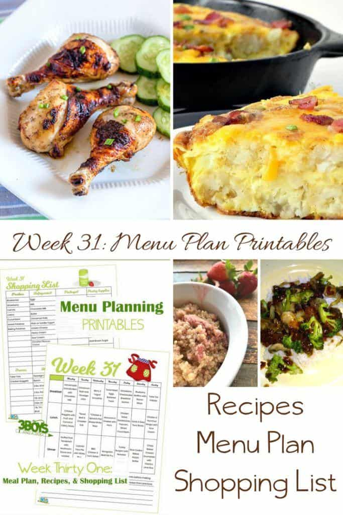 menu plans 31 . printable galore