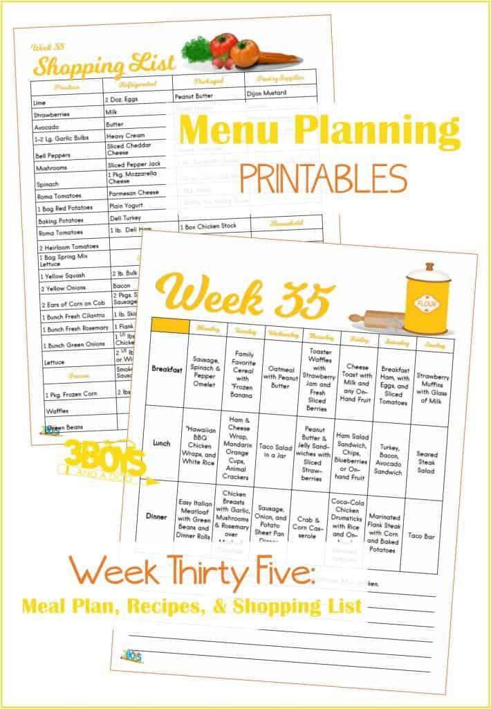 Week Thirty Five Menu Plan Recipes and Shopping List