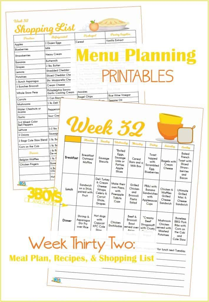 Week Thirty Two Menu Plan Recipes and Shopping List