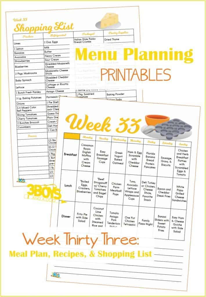 Week Thirty Three Menu Plan Recipes and Shopping List