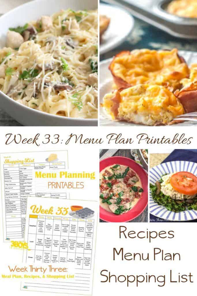 Week Thirty Three_ Menu Plan Printables