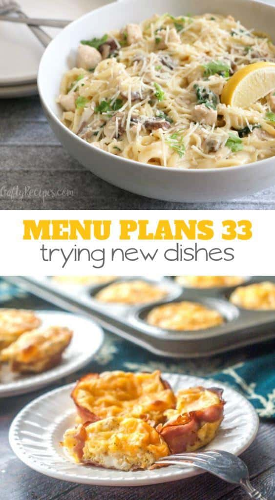 menu plans 33 . trying new dishes