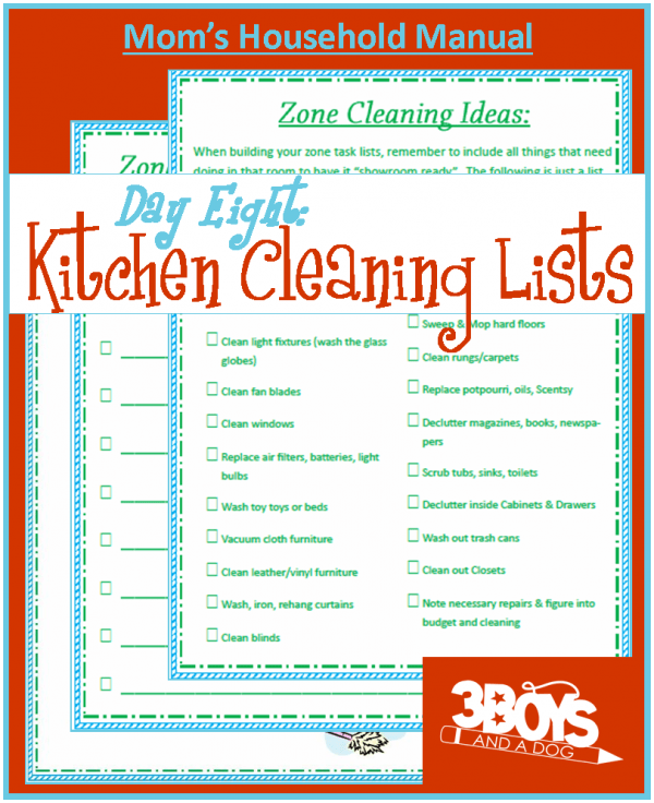home cleaning lists for Mom