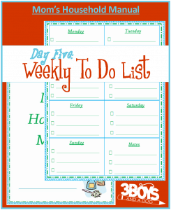 Mom's Manual Day #5: Weekly Master To Do List
