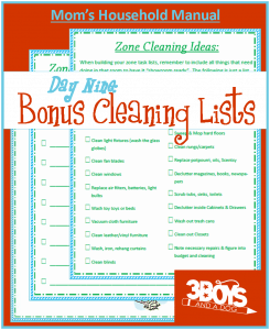 Cleaning lists for playroom, living room, office, laundry room, and more