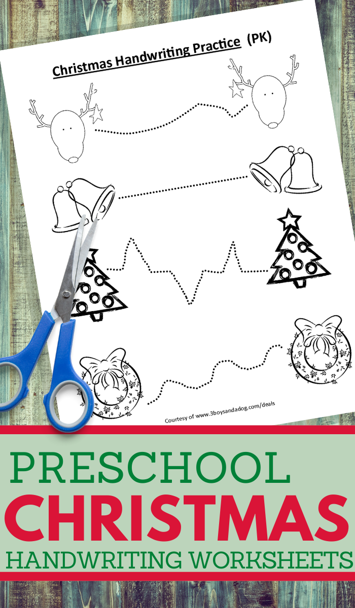 printable worksheets for preschool kids in a christmas handwriting theme