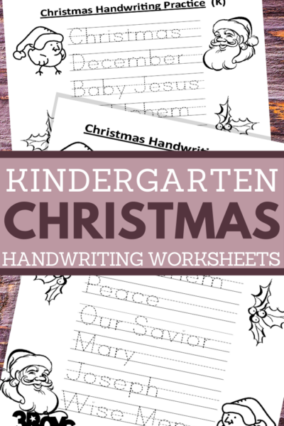 printable worksheets for kindergarten kids in a christmas handwriting theme