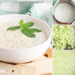 diced cucumber and sour cream combine for a delicious soup recipe