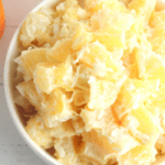 orange pieces and coconut come together in a sweet cream for the perfect low calorie dessert