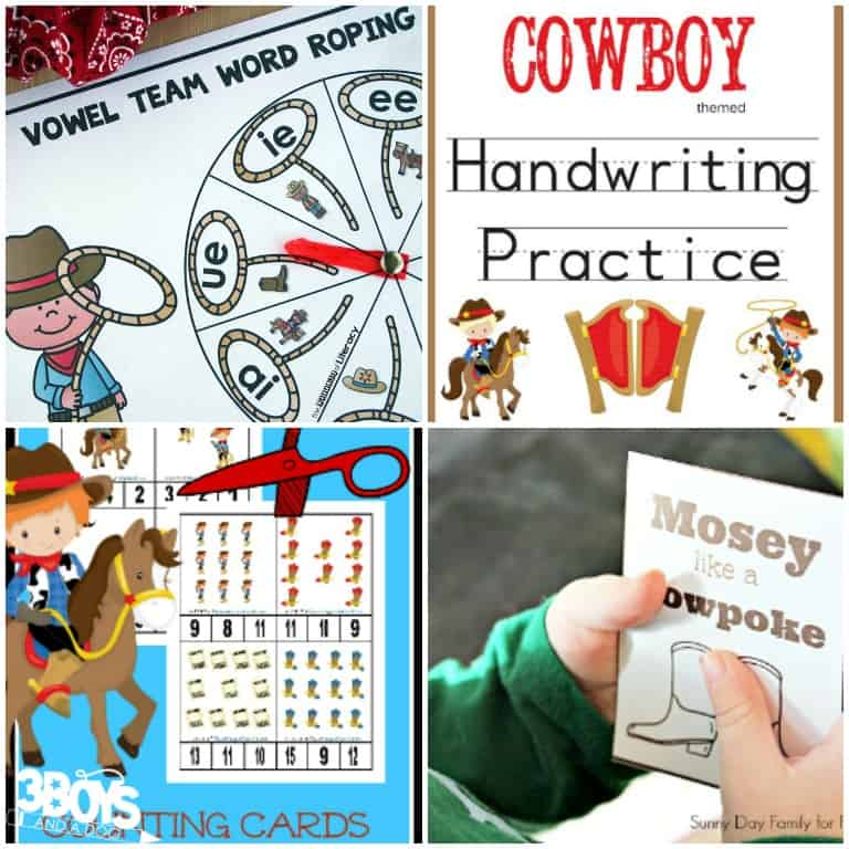 Cowboy Educational Printables