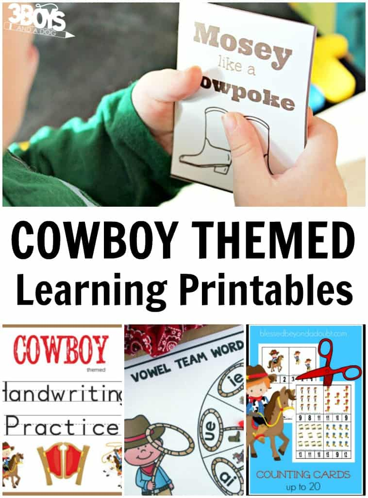 Cowboy Themed Learning Printables