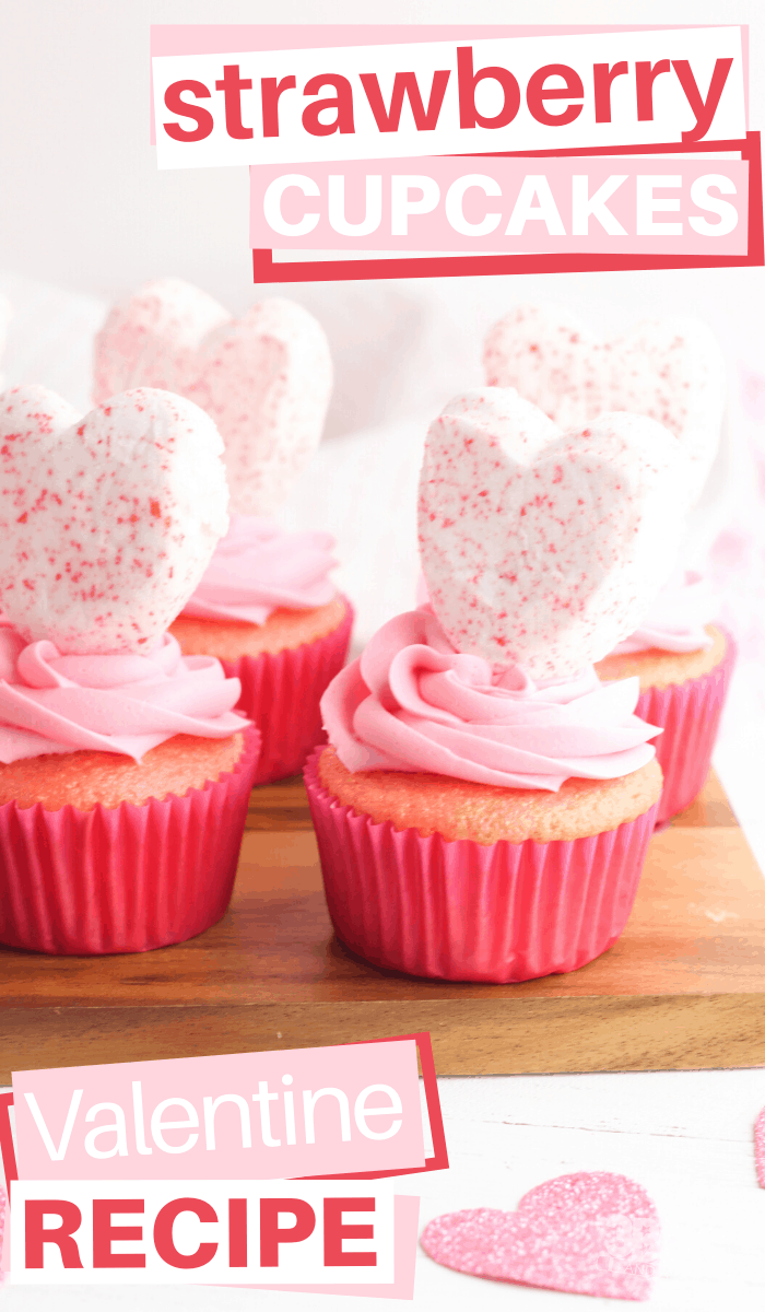 strawberry heart peeps on strawberry cupcakes with strawberry frosting