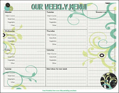 Menu Plan Monday Free Printable Menu   Boys And A Dog