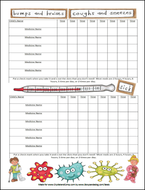 Selective image throughout medication charts printable