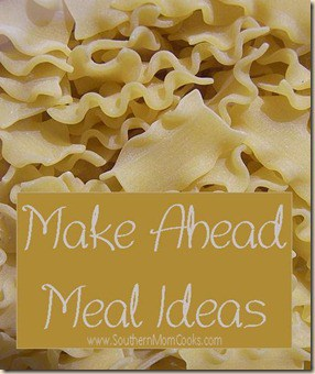 Makes ahead meals save time and money!