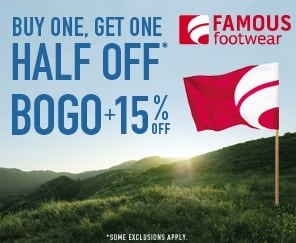 Save 15% PLUS BOGO at Famouse Footware #backtoschool